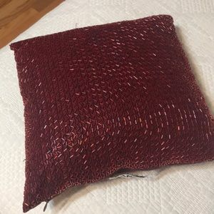 DKNY Red Beaded Square Pillow